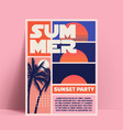 summer sunset or beach party flyer vector image vector image