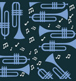 trumpet note music jazz poster wallpaper patter vector image vector image