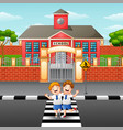two students crossing the road vector image