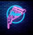 vintage pizza emblem glowing neon vector image
