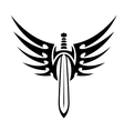 Winged sword tribal tattoo vector image vector image