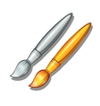 Gold and silver paint brush on a white background vector image