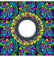 Stained-Glass Abstract Round Frame vector image