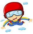 Athlete doing sky diving alone vector image vector image