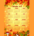 autumn calendar template of fall nature season vector image vector image