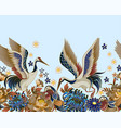 border with mandarin ducks flowers and cranes vector image vector image