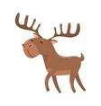 brown deer with antlers woodland cartoon animal vector image