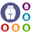 buttocks of girl icons set vector image vector image