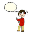 cartoon boy with popping out eyes with thought vector image vector image