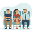 cartoon people traveling sitting inside aircraft vector image