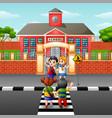 children crossing the road vector image vector image