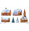 Christmas Cottages country houses Festive vector image