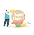 chuseok tteok korean tradition concept tiny happy vector image