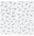 collection seamless paper origami patterns vector image vector image