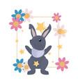 Cute rabbit flowers frame