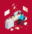 deadline office isometric composition vector image