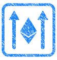 ethereum crystal send arrows framed stamp vector image vector image