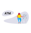 fat obese woman using atm machine fatty girl vector image