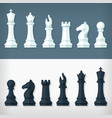 flat chess pieces design set style simple drawing vector image vector image