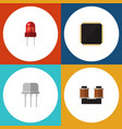 flat icon device set of resist coil copper cpu vector image vector image
