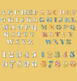floral white and colorful letters and numbers vector image vector image