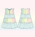 front and back view of a summer dress vector image vector image