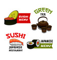 icons of sushi for japanese restaurant menu vector image vector image
