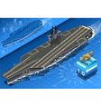 Isometric Aircraft Carrier in Navigation in Front vector image
