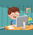 kid with computer vector image vector image