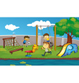 Kids having fun in the park vector image vector image