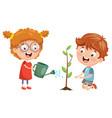 Kids planting vector image