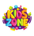 kids zone cartoon logo vector image vector image