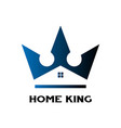 king crown and home house real estate logo vector image