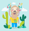 llama in earphones flat cartoon character vector image