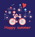 merry summer card with funny bicycles vector image vector image