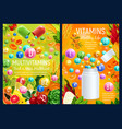multivitamins complex in food health care vector image vector image
