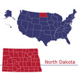 north dakota map counties with usa map vector image vector image