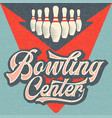 retro advertising bowling poster vintage poster vector image