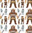 Seamless knight and viking vector image vector image