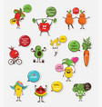 set funny fruit and vegetable icons cartoon vector image