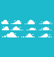 Set white icon cloud on blue background