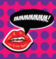 sexy red lips and open mouth with comic speech vector image