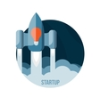 Space rocket flying in sky startup vector image vector image