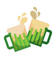 toasting beer glasses cheers foamy drink drops vector image