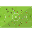 Top View Football Playground with Players vector image vector image