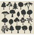 Trees silhouette icons set vector image vector image