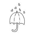 umbrella on a rainy day autumn doodle hand drawn vector image