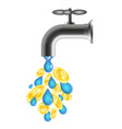 water drops and coins from the tap vector image