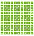 100 media icons set grunge green vector image vector image