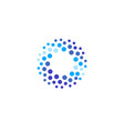 abstract blue color round logo from circles water vector image vector image